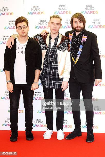 Emre Turkmen Olly Alexander and Mikey Goldsworthy of Years Years attend the BBC Music Awards at Genting Arena on December 10 2015 in Birmingham...