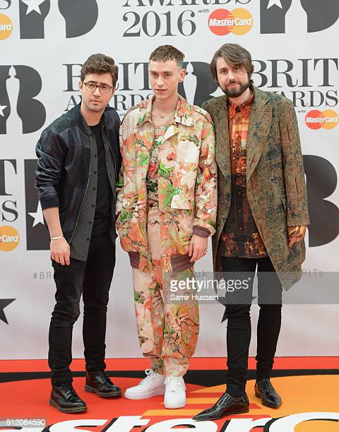 Emre Turkmen Olly Alexander and Mikey Goldsworthy of Years Years attend the BRIT Awards 2016 at The O2 Arena on February 24 2016 in London England