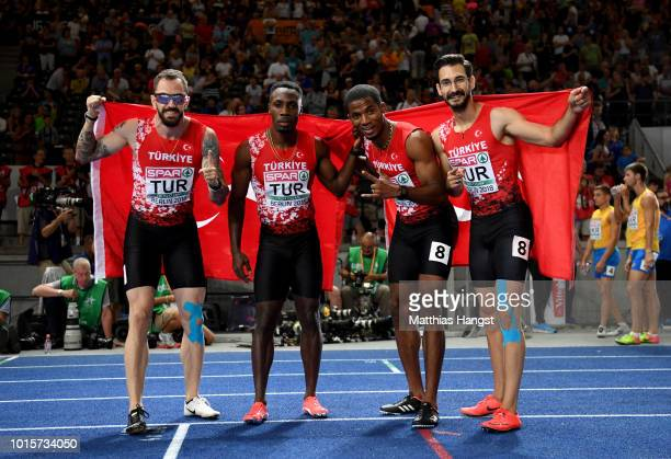 Emre Zafer Barnes Jak Ali Harvey Yigitcan Hekimoglu and Ramil Guliyev of Turkey celebrate after winning the silver medal in the Men's 4 x 100m Relay...