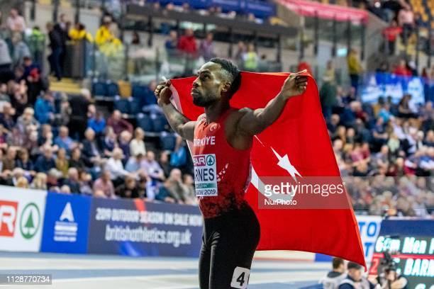 Emre Zafer TUR competing in the 60m Men Final event during day TWO of the European Athletics Indoor Championships 2019 at Emirates Arena in Glasgow...