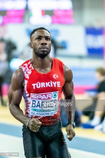 Emre Zafer TUR competing in the 60m Men SemiFinals event during day TWO of the European Athletics Indoor Championships 2019 at Emirates Arena in...