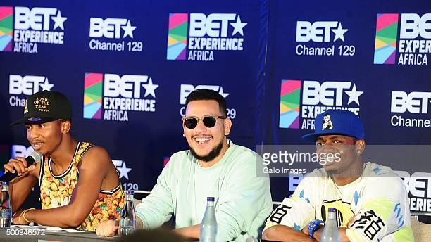 Emtee AKA and Diamond Platnumz at the BET Experience Africa press conference on December 11 2015 at the Radisson Blue Hotel in Johannesburg South...