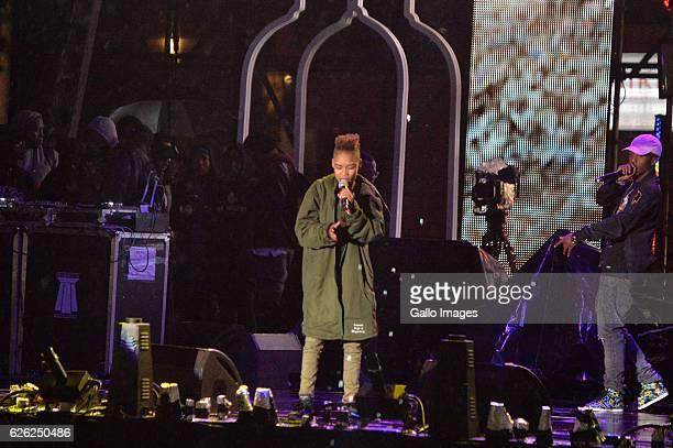 Emtee and Fifi Cooper perform during the 7th annual Maftown Heights 2016 concert at the Mary Fritzgerald Square on November 25 2016 in Johannesburg...