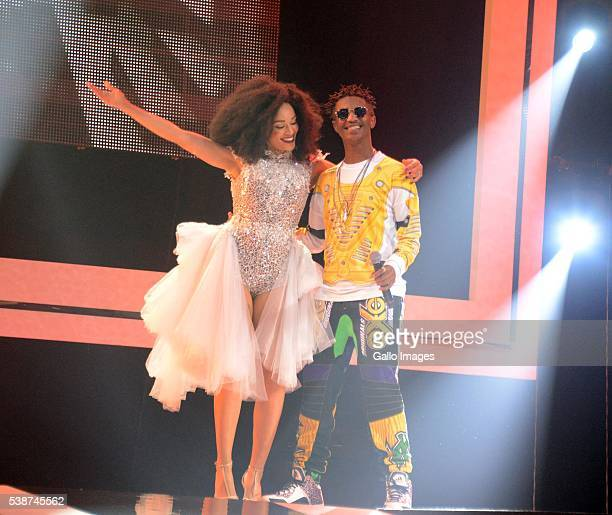 Emtee and Pearl Thusi on stage during the 22nd annual South African Music Awards at the Durban International Convention Centre on June 04 2016 in...