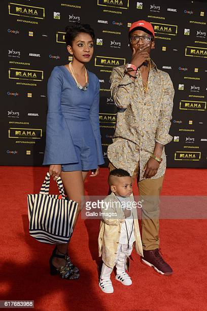 Emtee with his girlfriend and oneyearold son Avery during the 2016 MTV Africa Music Awards at the Ticketpro Dome on October 22 2016 in Johannesburg...