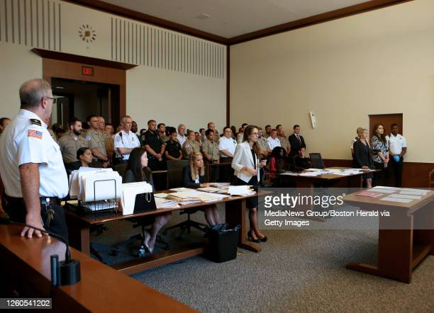 EMTs pack the courtroom as Julie Tejeda appears in the docket, after alledgedly stabbing an EMT, at Boston Municipal Court on July 11, 2019 in...