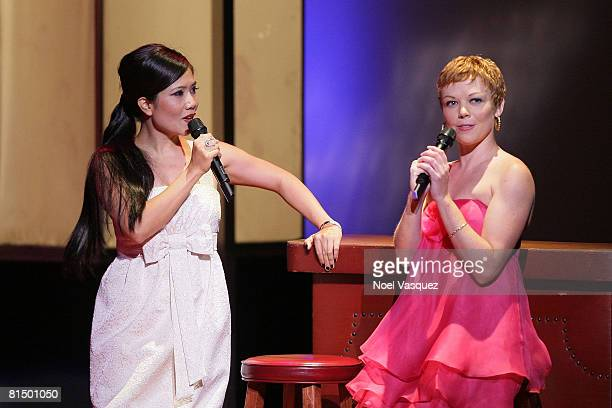Emy Coligado and Emily Bergl perform at the 6th annual 'What a Pair' concert at the Orpheum Theatre on June 8 2008 in Los Angeles California