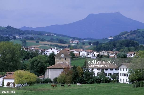 en arriere plan La Rhune Espelette Pays Basque departement PyreneesAtlantique region Aquitaine France in background La Rhune mountain Espelette Pays...