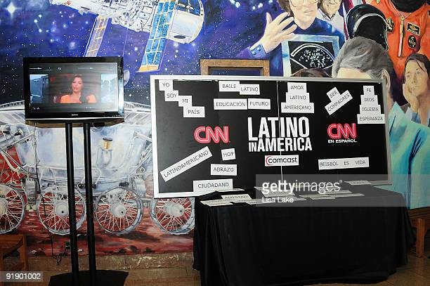 CNN en espanol magnetic poetry for guests attending the 'Latino in America' screening at the Franklin Institute on October 14 2009 in Philadelphia...