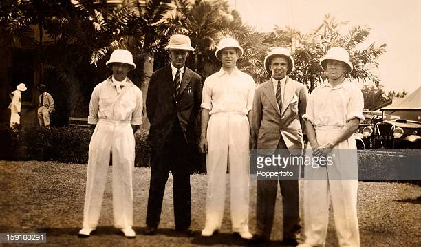 En route to Australia the RMS Orontes docked in Colombo for several days and in this image five of the MCC England cricket team are seen wearing pith...
