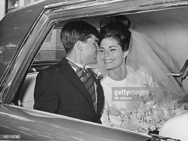 AUG 1 1964 AUG 3 1964 En Route To Reception Newlywed Mr and Mrs Robert Wilson Jr depart St John's Cathedral for their wedding reception Saturday They...