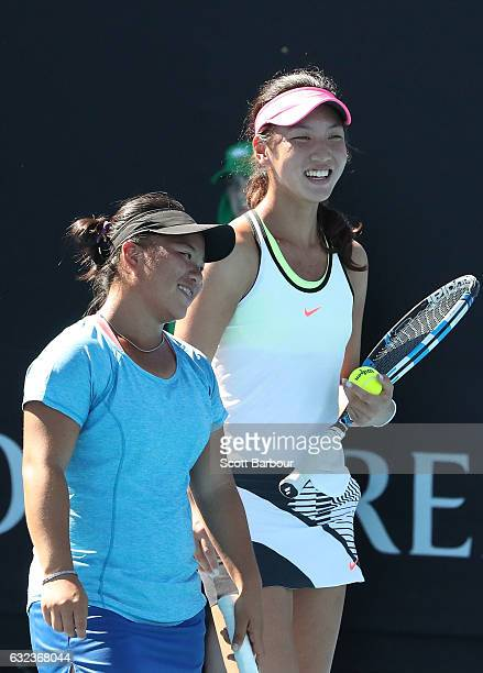 En Shuo Liang and Xin Yu Wang compete against Caty McNally and Natasha Subhash of the United States during the Australian Open 2017 Junior...