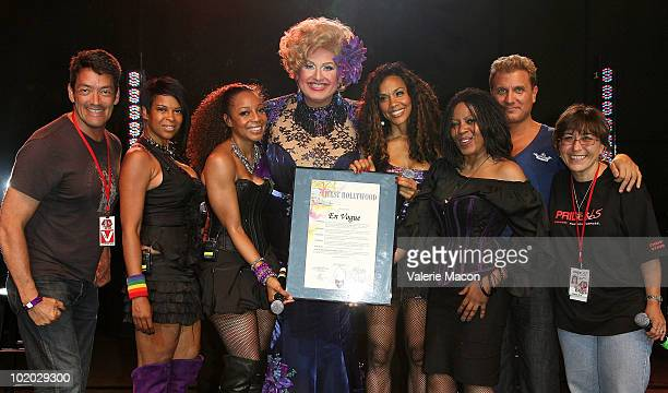 En Vogue members and Mayor Pro Tempore John J Duran Momma Billy Master and Gaye Ann Bruno performs at Christopher Street West's 40th Anniversary LA...