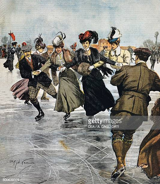 En vogue pastimes, ice skating, illustration by Achille Beltrame , from La Domenica del Corriere, January 27 Italy, 20th century.