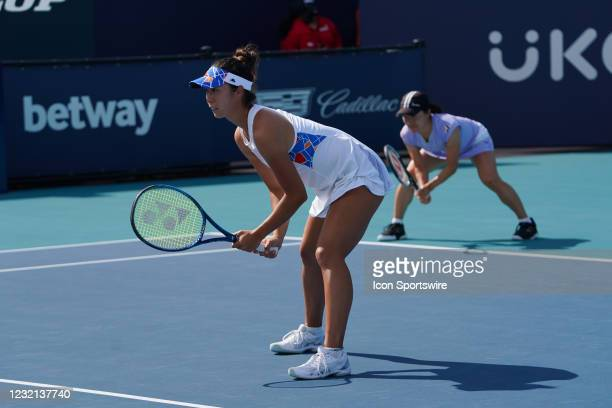 Ena Shibahara , left, and Shuko Aoyama win the womens doubles finals of the Miami Open on April 4 at Hard Rock Stadium in Miami Gardens, Florida