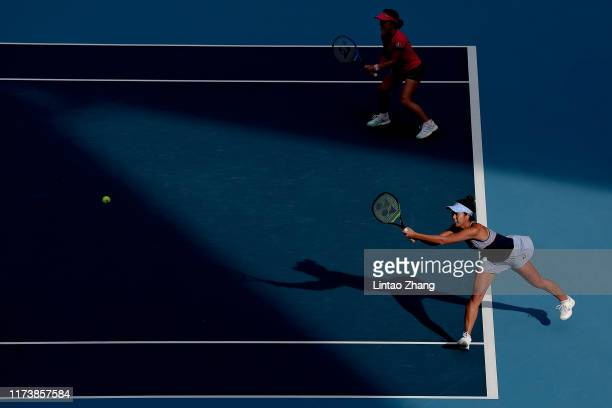 Ena Shibahara of Japan in action with teammate Shuko Aoyama during the Women's doubles Semifinal match against Sofia Kenin and Bethanie MattekSands...