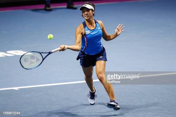Ena Shibahara of Japan returns the ball during her women's doubles quarter-final match with partner Shuko Ayoama against Anastasia Potapova of Russia...
