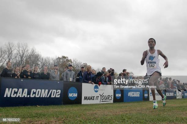 Enael Woldmichael of Grand Valley State University runs to the finish line during the Division II Men's Cross Country Championship held at the Angel...