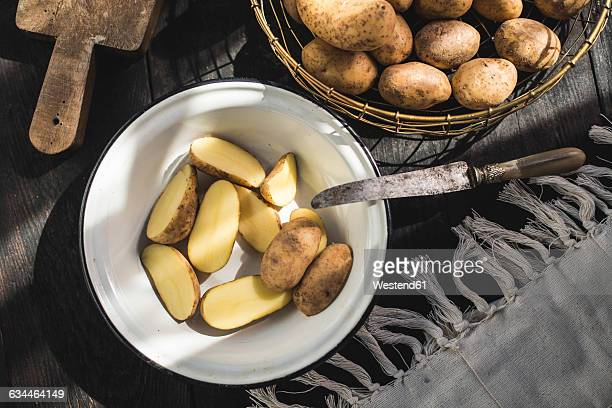 Enamel bowl of sliced raw potatoes