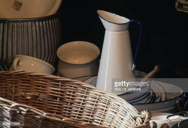 Enamel jugs and tableware Black Country Living Museum Dudley West Midlands United Kingdom