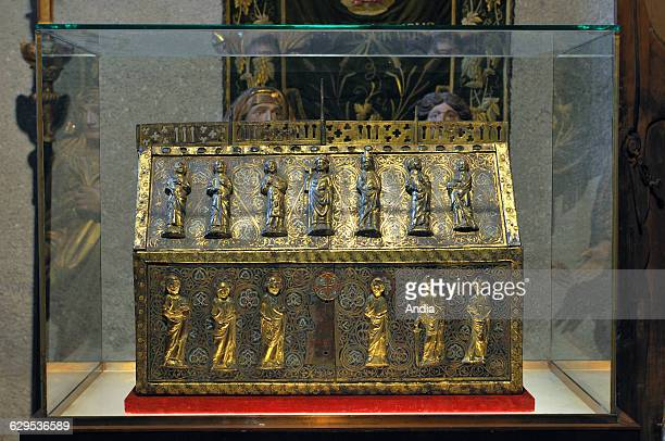Enamelled copper reliquary of Saint Ebons dating back to the XIIIth century in the Church of Sarrancolin HautesPyreenees department