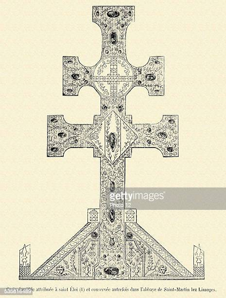 Enamelled cross attributed to Saint Eloi and housed formerly in the SaintMartin les Limoges abbey 19th Century engraving