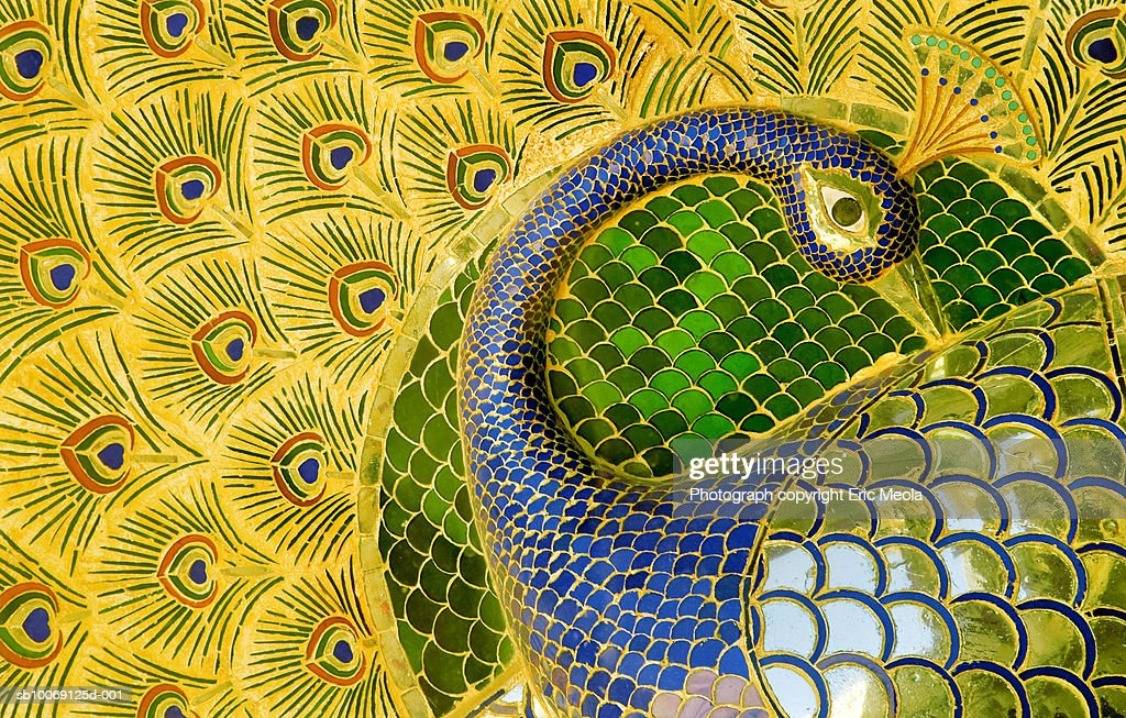Enamelled peacock at City Palace : Stockfoto