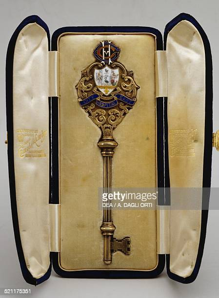 Enamelled silvergilt ceremonial key for the inauguration of the hospital in Liverpool 1902 United Kingdom 20th century United Kingdom