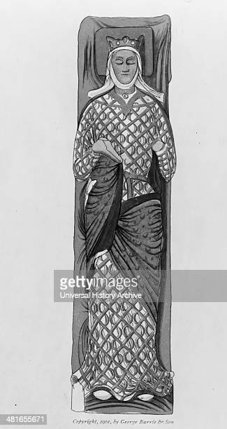 Enamelled stone effigy of Eleanor of Aquitaine from her tomb in the Abbey of Fontevrand France circa 1900 lithograph showing Eleanor of Aquitaine...