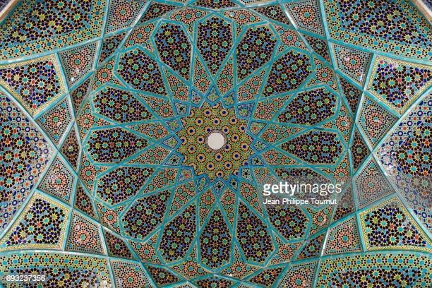 Enamelled tiles mosaic on the ceiling of the pavilion above Hafez Tomb (Hāfezieh) in Musalla Garden, Shiraz, Fars Province, Iran