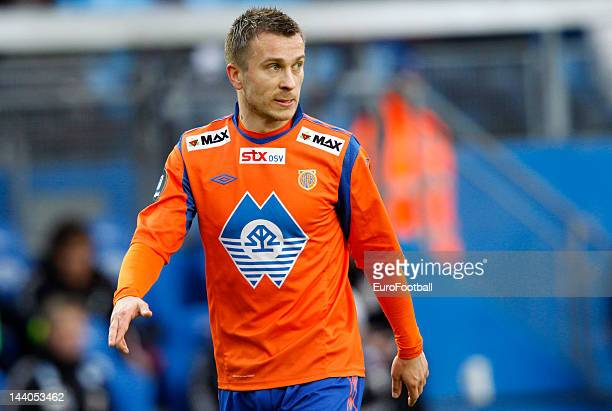 Enar Jaager of Aalesunds FK in action during the Norwegian Tippeligaen match between Molde FK and Aalesunds FK held on May 6 2012 at the Aker Stadion...