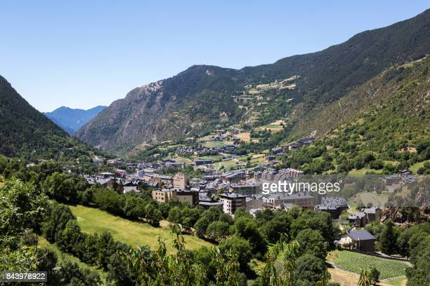 encamp - village in the center of andorra, located at about 1300 meters altitude. (andorra) - andorra stock pictures, royalty-free photos & images