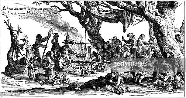 Encampment of central European gypsies also known as Egyptians 1604 Deer are being butchered and birds plucked Women turn a cooking spit and tend a...
