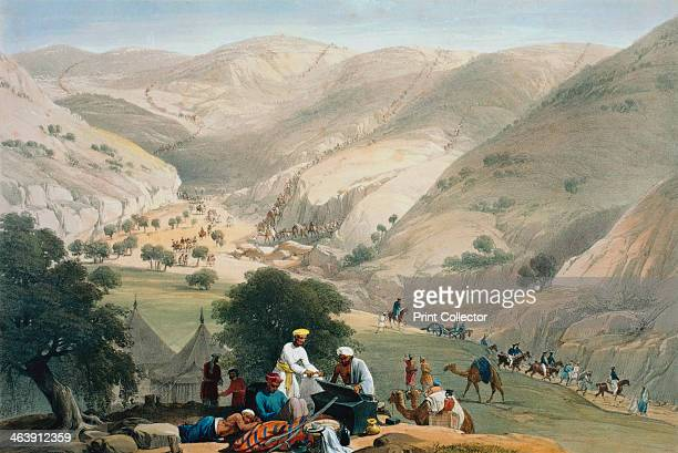 Encampment of the 1st Bengal European Regiment First AngloAfghan War 18381842 A long column of soldiers and artillery strung out over distant...