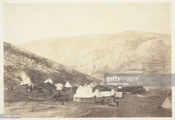 Encampment of the 71st Regiment, 1855. A work made of salted paper print, from the album 'photographic pictures of the seat of war in the crimea' ....