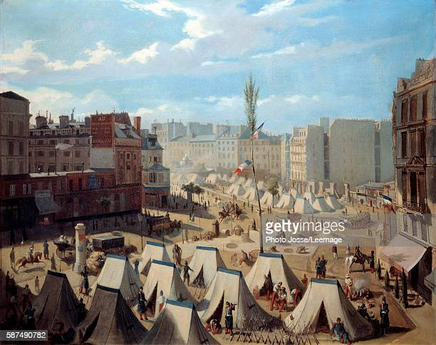 Encampment of troops on the Boulevard du Temple in the days of June 1848 View of Paris during the revolution of 1848 Painting by Alexandre Josquin...