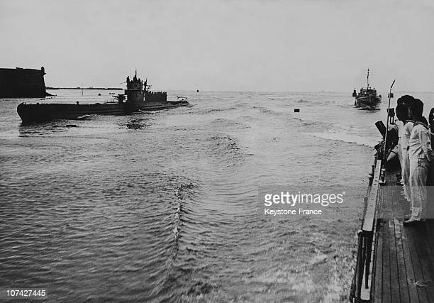 Encounter Between German Warship And A U Boat On August 2Nd 1940