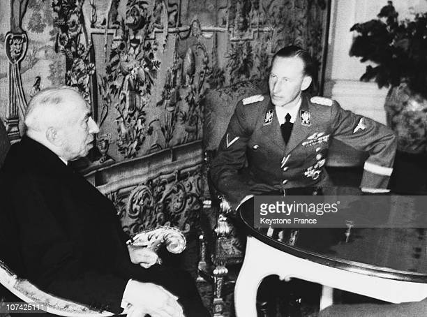 Encounter Between Reinhard Heydrich Nazi Protector And The President Hacha Of Bohemia And Moravia At Prague In Germany Czechoslovakia On September...