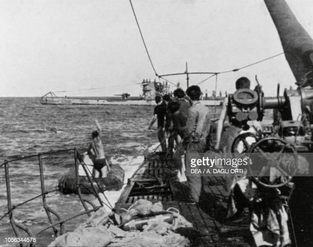 Encounter in the Atlantic Ocean between an Italian submarine and a German submarine, World War II, 20th century.
