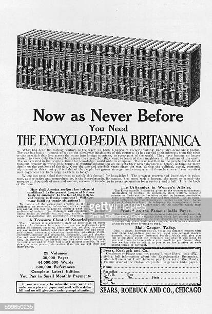 Encyclopedia Britannica advertisement from the Sears Roebuck Company with image of a line of bound books 1922