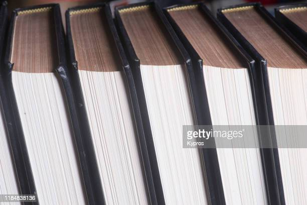 encyclopedia - printed books, leather bound, no longer available, out of print - book stock pictures, royalty-free photos & images