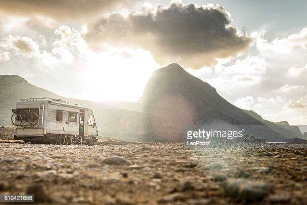 End of a long journey - Caravan at sunset