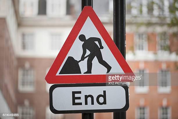 End of roadwork, sign, United Kingdom, Europe