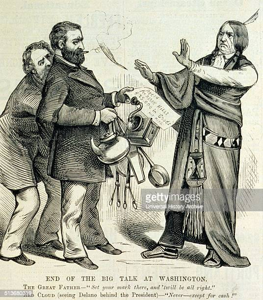 End of the big talk at Washington' Editorial cartoon shows President Ulysses S Grant with his arms behind his back and with Interior Secretary...