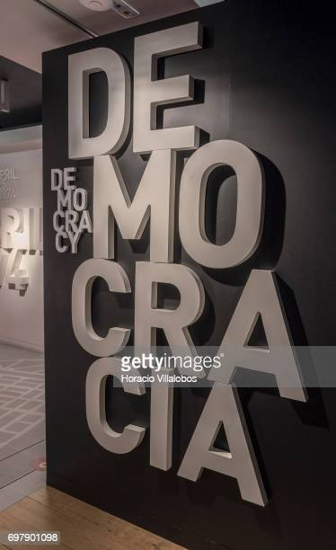 End of the Portuguese dictatorship , on display at the Aljube Museum - Resistance and Freedom on June 18, 2017 in Lisbon, Portugal. The Aljube Museum...