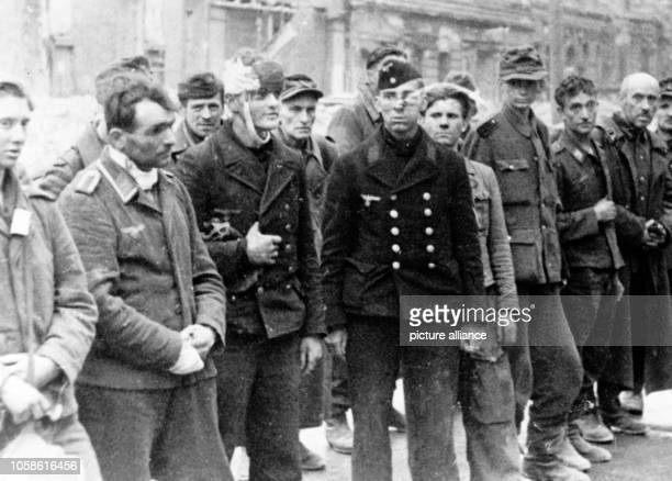 End of the war in Berlin 1945 Members of the German Volkssturm among them adolescents old and wounded men are arrested by the Red Army in Berlin...