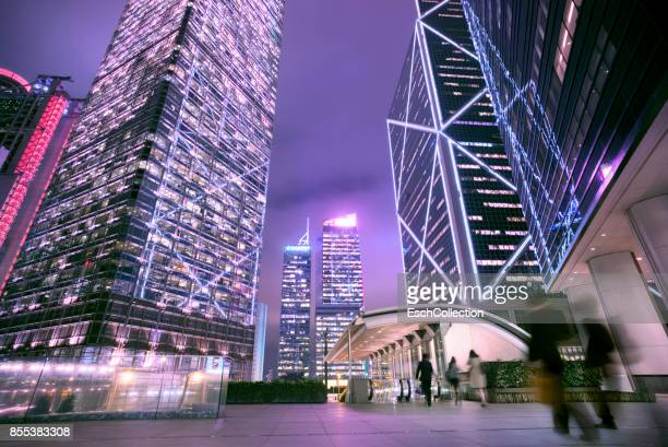 End of the workday at Central Business District of Hong Kong