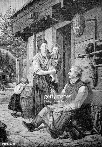 End of the working day farmer sharpening the scythe wife with two small children in front of the farmhouse Feierabend Bauer beim Schaerfen der Sense...