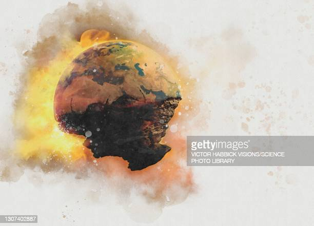 end of the world, conceptual illustration - planet earth stock pictures, royalty-free photos & images