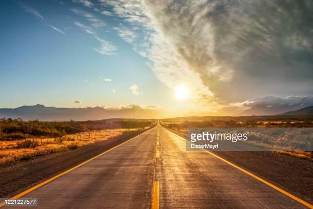チリのフィン・デル・ムンド通り - パタゴニア - 幹線道路 ストックフォトと画像